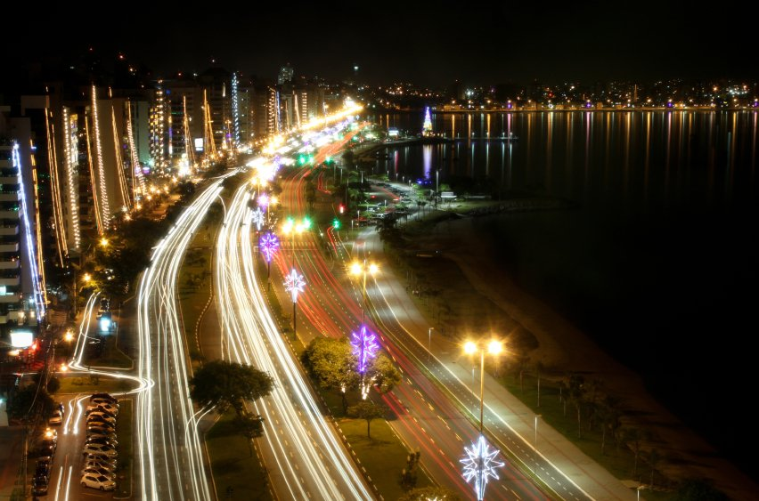 Beira Mar Avenue Florianopolis Brazil- at Night